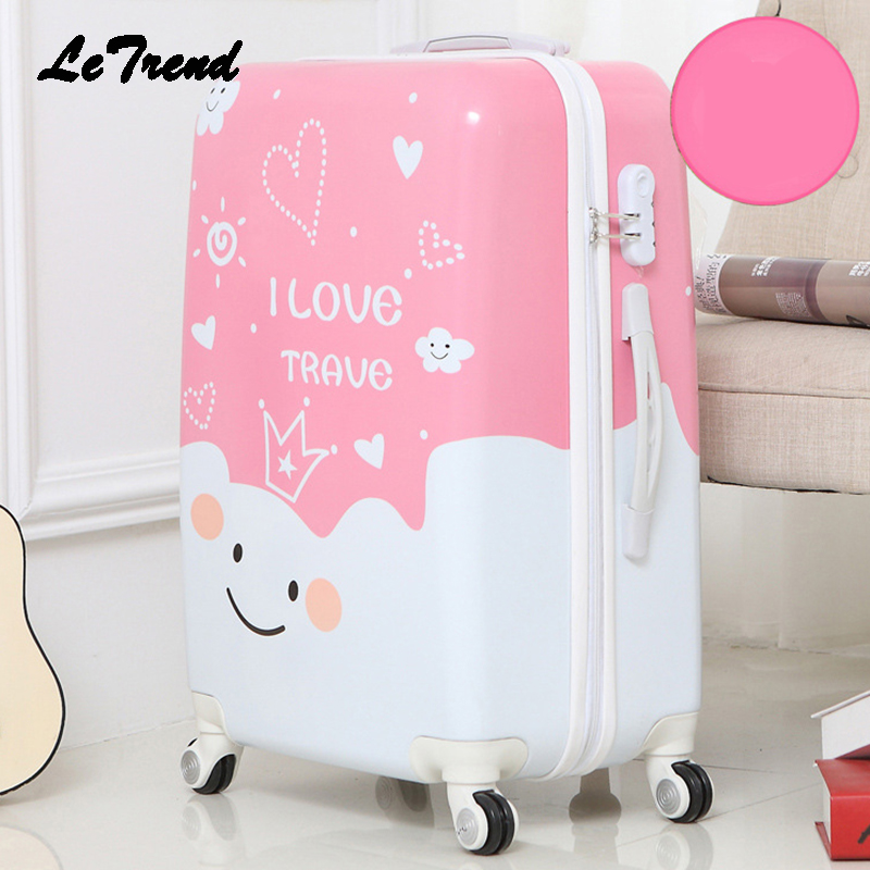 Letrend Cute Cartoon Student Rolling Luggage Spinner Children Trolley Suitcase Wheels Ki ...