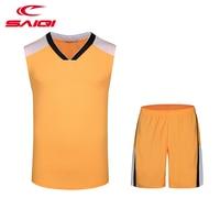 SAIQI Basketball Jersey Uniform For Men Sleeveless Gym Sets Men Brand Outdoor Sets Male Basketball Suits