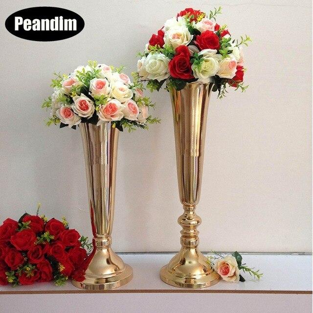 Peandim Metal Gold Silver Flowers Vase Table Centerpiece Decoration