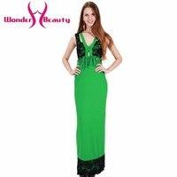New Design Women Green Lace Patchwork Elegant Sleeveless V Neck Casual Work Office Dress Lady