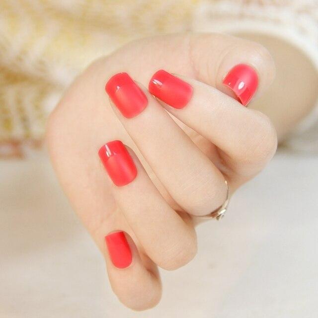Alta calidad mate rojo color de uñas postizas set corto tamaño ...