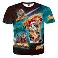 New Fashion Espaço/Galaxy homens marca t-shirt engraçado impressão super poder de água Jorrando do gato 3D t shirt tops de verão tees
