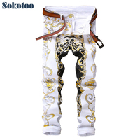 Sokotoo Men's slim print jeans Fashion flower straight white denim pants Long trousers