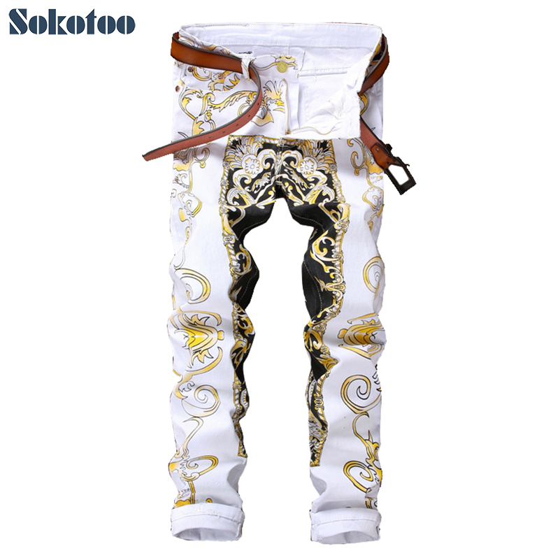 Sokotoo Men's Slim Print Jeans Fashion Flower Straight White Denim Pants Long Trousers