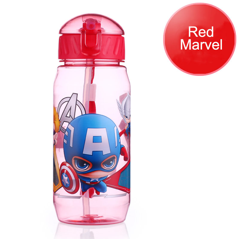 Disney 17 Children Straw Plastic Water Bottle BPA Free Lovely Cartoon Eco-friendly With lid Portable Camp Student Water tumble 18