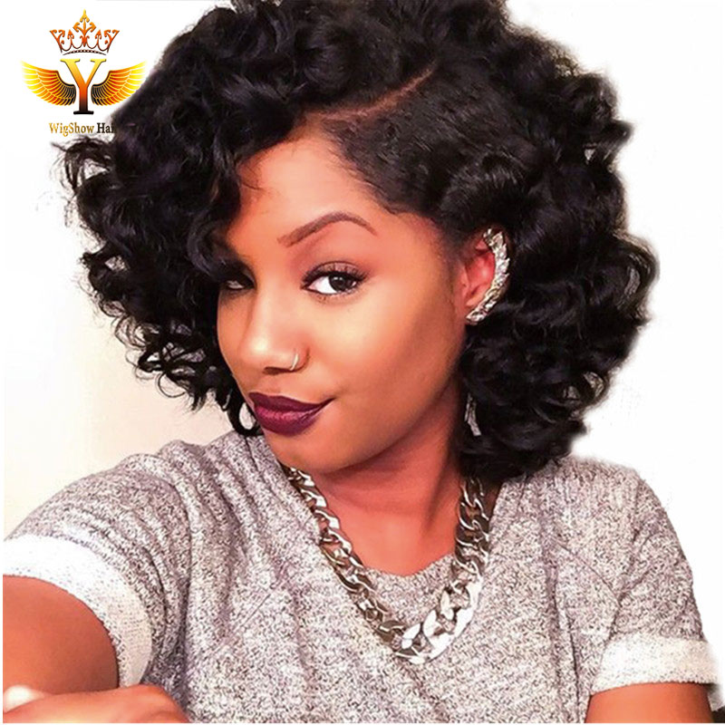7a Brazilian Side Part Short Bob Lace Front Wig Short Full
