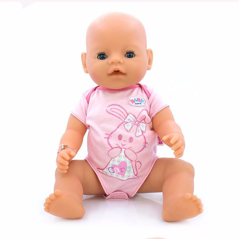 Hot Style 43cm Baby Born Zapf Doll Pink Rabbit Jumpsuits Baby Born Doll Clothes Children Best Gift