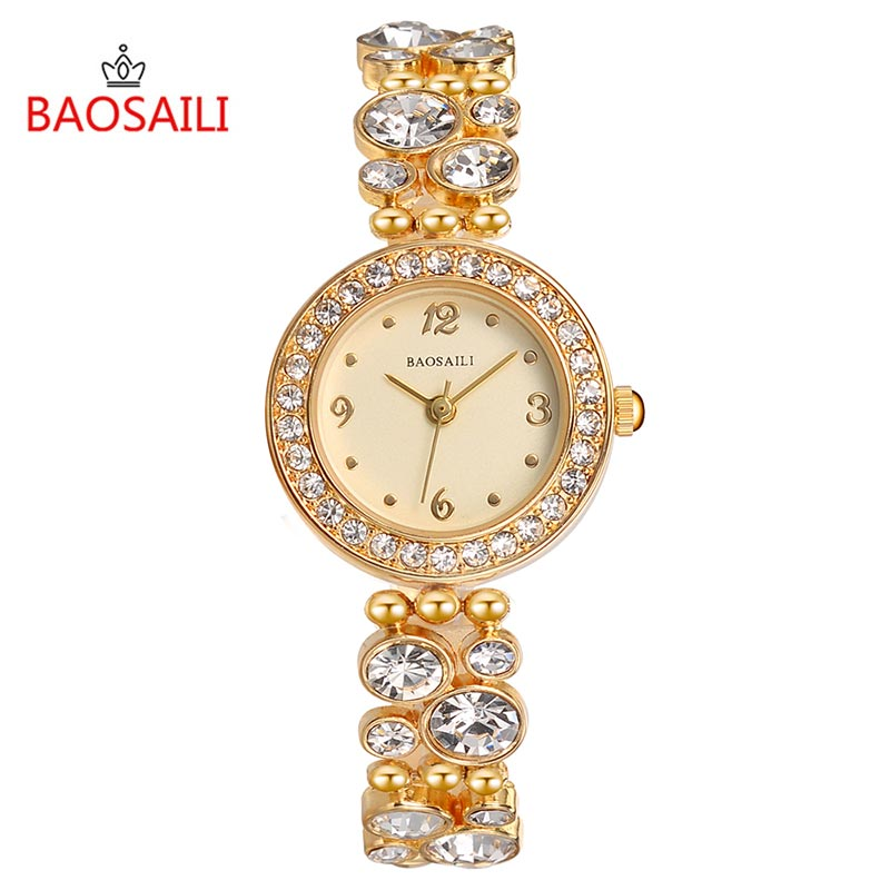 Fashion Gold Bracelet Watches Women Top Luxury Brand Ladies Rhinestone Quartz Watch Famous Watch Clock Relogio Feminino Bs8209 lvpai quartz watch women fashion rhinestone bracelet watches dress clock gold silver relogio feminino