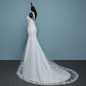Image 4 - 순수한 흰색 아이보리 럭셔리 섹시한 백 레이스 인어 작은 기차 레이스 웨딩 드레스 2020 새로운 패션 라인 Appliques Vestido 드 Noiva