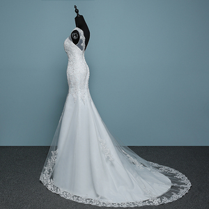 Image 4 - Pure White Ivory Luxury Sexy Backless Mermaid Small Train Lace Wedding Dress 2020 New Fashion A line Appliques Vestido De Noiva