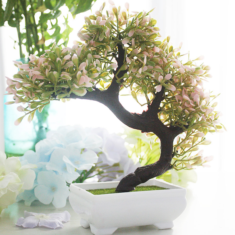 Simulation Plantes Pins Bonsaï Fleur Artificielle En Pot Faux Fleurs pour le Mariage De Noël Décoration de La Maison