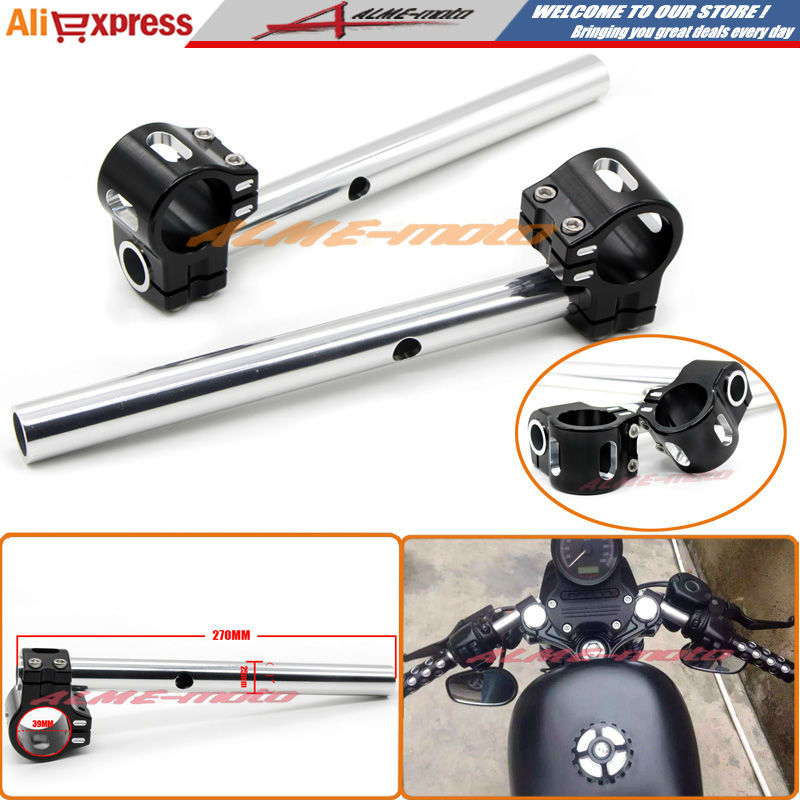 Motorcycle CNC Billet Aluminum 39mm Fork Tubes Clip-On Handlebars 1 Bars FOR Harley Sportster XL 883 1200 48 Dyna FXD FXDX FXDL 7 8 38mm new cnc billet clip on clip ons handlebars handle bars for kawasaki ninj 600 750 900	85 86 87 88 89 90 91 92 1985 1992