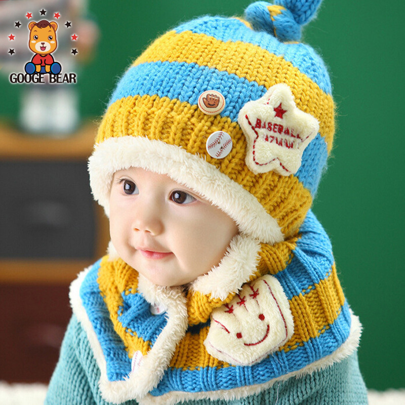 Baby Girls Winter Crochet Coif Hat Scarves Boys Warm Scarf Kids Thick Earflap Hood Cap Toddler Infant Christmas hats