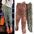 2016 cool style personality female trousers leisure popular Harem Pants floral Print Chiffon Loose Elastic Pants