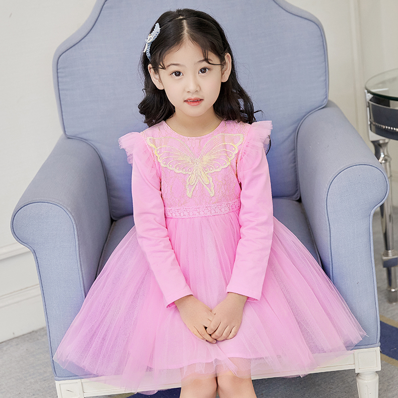 Formal Party Butterfly Girls Dress Cotton Long Sleeve Wedding Pageant Birthday Spring Princess Dresses Kids Clothes 10 Years цена