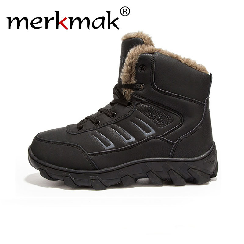 Merkmak Snow Boots Men Winter Warm Ankle Boots Lace Up Autumn Fur Plush Boots Casual Leather Work Outdoor Shoe Big large Size 48