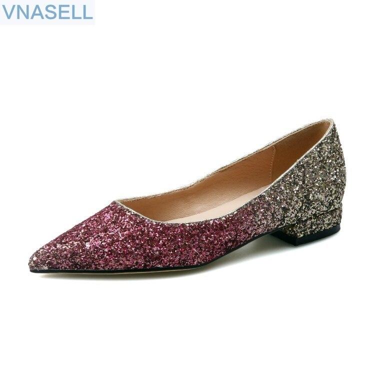 Pointu bouche peu profonde fond plat talon bas pailleté argent dégradé couleur cristal chaussures désherbage parti unique chaussures