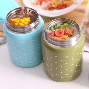 Image 2 - 350ml Material de calidad alimentaria termo taza plegable cuchara guiso sopa termo portátil Termos bueno para la familia tomar el almuerzo