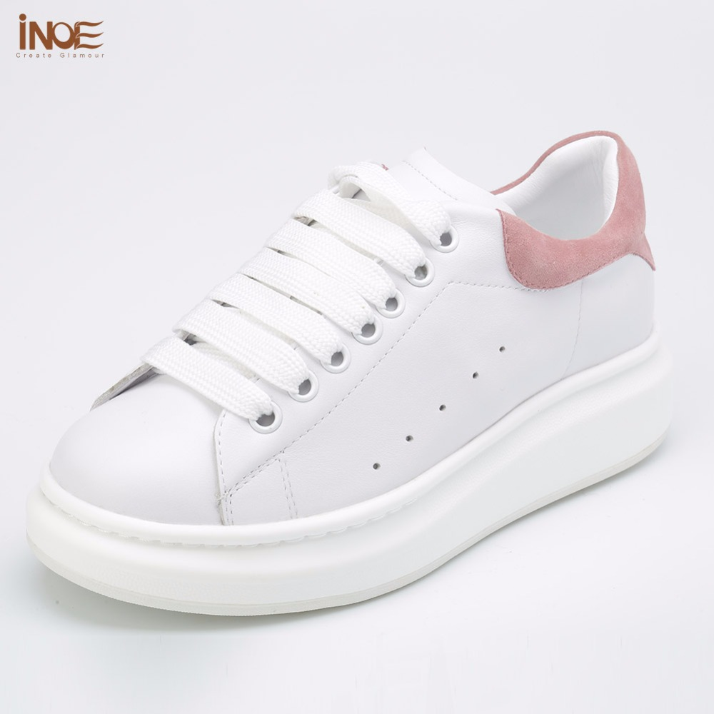 ФОТО INOE fashion flats genuine leather casual spring shoes for women lace up summer leisure shoes high quality black white red 35-42