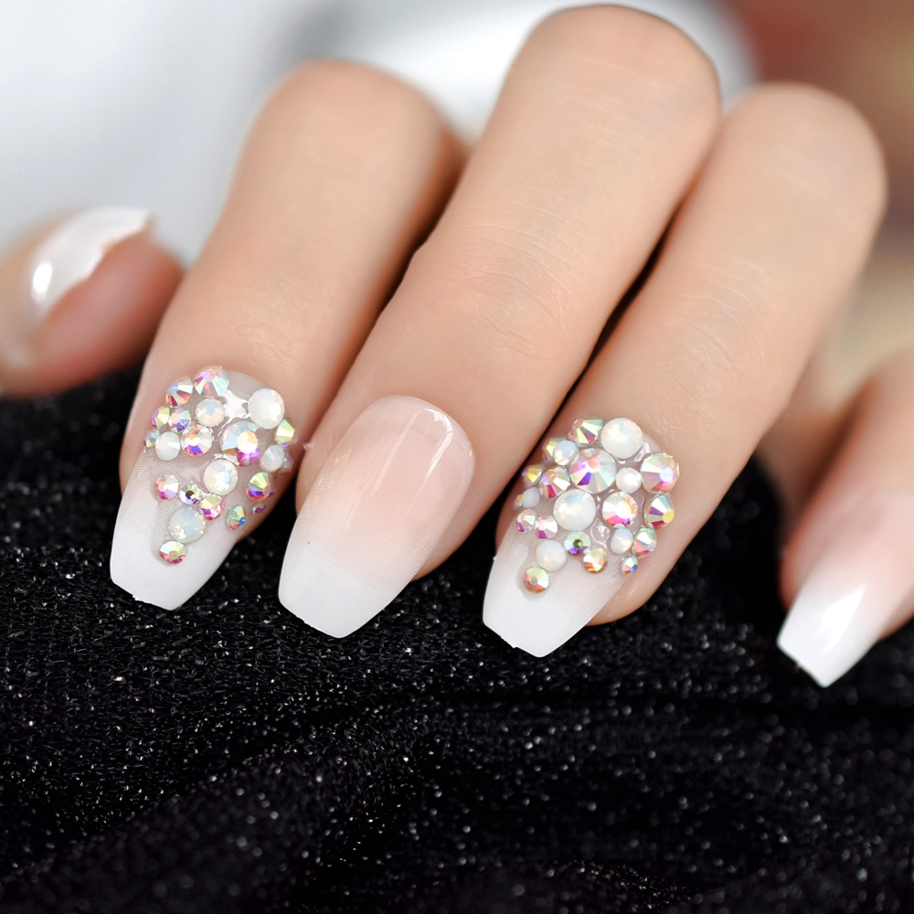 3D Bling Glitter Pink Nude French Ballerina Coffin False Fake Nails Gradeint Natrual Press On Daily Office Finger Wear UV Nails