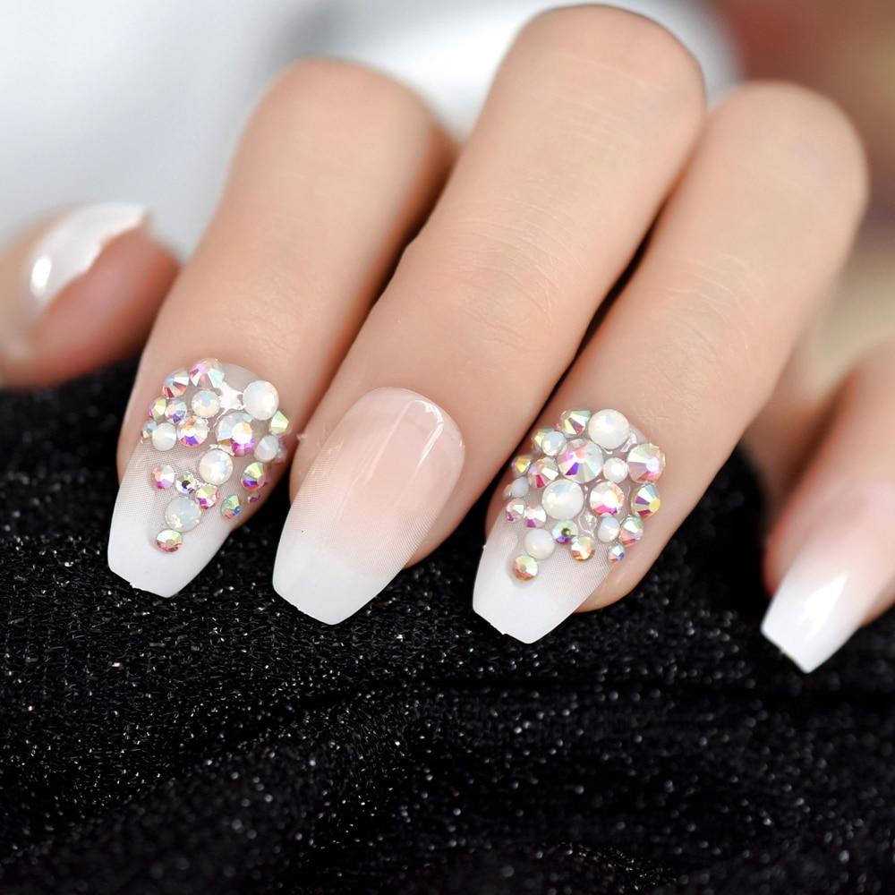 3D Bling Glitter Pink Nude French Ballerina Coffin False Fake Nails Gradeint Natrual Press On Daily Office Finger Wear UV Nails