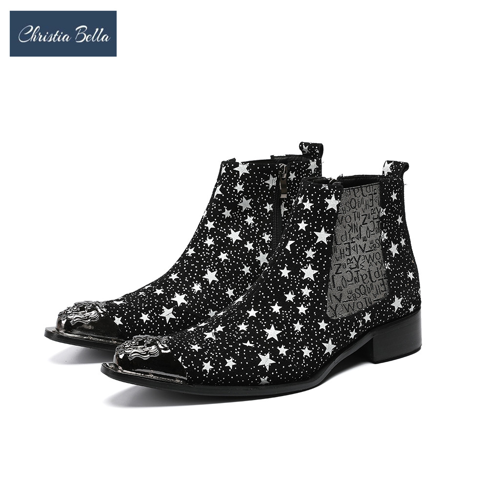 Christia Bella Stars Trend Shoes Men Autumn Winter Motocycle Boots Leather Slip On Metal Steel Toe Chelsea Boots Male Shoes Christia Bella Stars Trend Shoes Men Autumn Winter Motocycle Boots Leather Slip On Metal Steel Toe Chelsea Boots Male Shoes