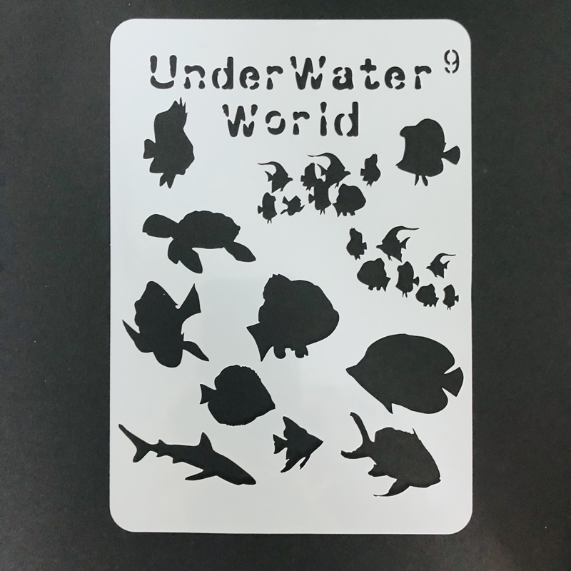 Us 1 5 Underwater World Stencil For Kids Painting Fish Reusable Mylar Template Paint Wood Wall Art Pallets T Shirts Diy Home Decor A5 On