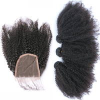 Mongolian Afro Kinky Curly Hair Weave 3 Human Hair Bundles With Closure 4Pcs Bundles With Lace Closure With Bundles Remy Venee