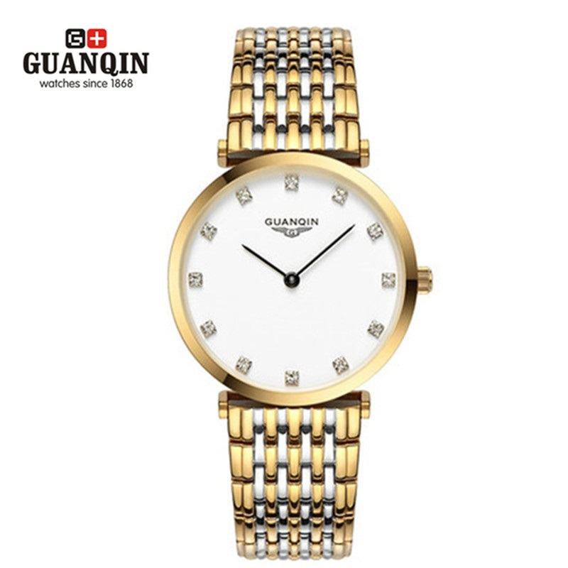 ФОТО Luxury Brand GUANQIN Men Quartz Watch Gold Waterproof Watches Clock Analog Wristwatches Steel Watches Relogio Masculino Reloj