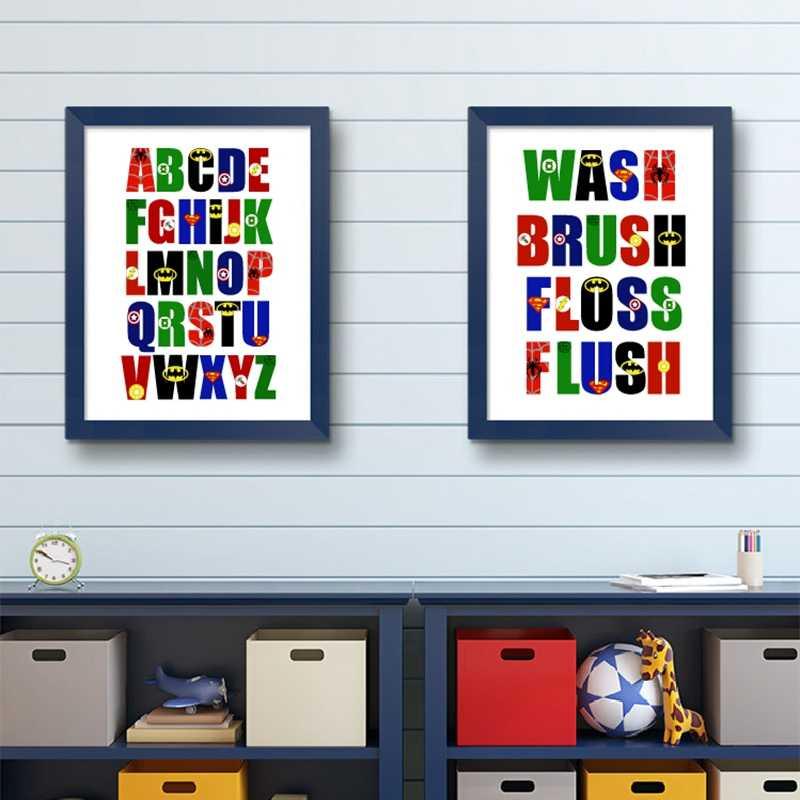 슈퍼 히어로 알파벳 캔버스 인쇄 소년 방 벽 예술 장식, abc의 슈퍼 히어로 로고 캔버스 포스터 벽 아트 그림 보육 장식