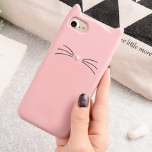 couple Cute Glitter Bearded Cat Case For iphone 6 6S 7 8 Plus X XR XS Max SE 5 5S 5C Squishy lovers Cat Cover Mobile Phone Bags(China)