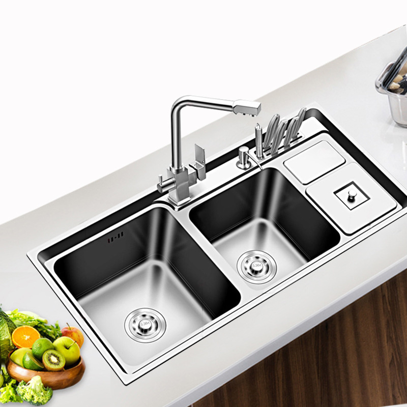Steel Sink Three Slot With Trash Multi-function  Basins With Thick Double Groove Combo Sink In The Kitchen Bowl