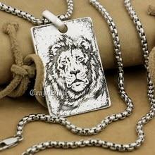 High Detail Deep Engraved Customizable 925 Sterling Silver Lion King Dog Tag  Mens Biker Rocker Punk Pendant 9X003 Steel N 24″