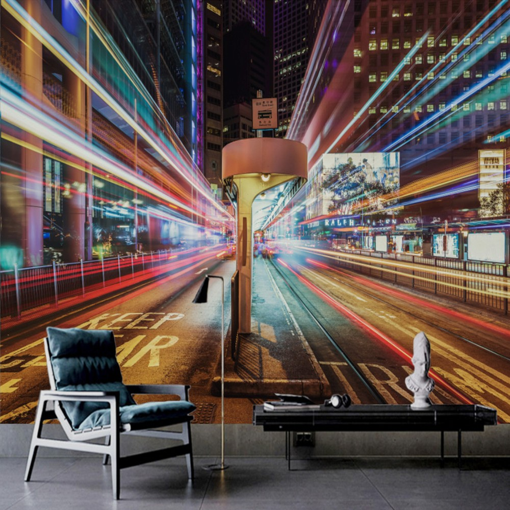 Free Shipping Custom 3D Mural Busy City Night Street