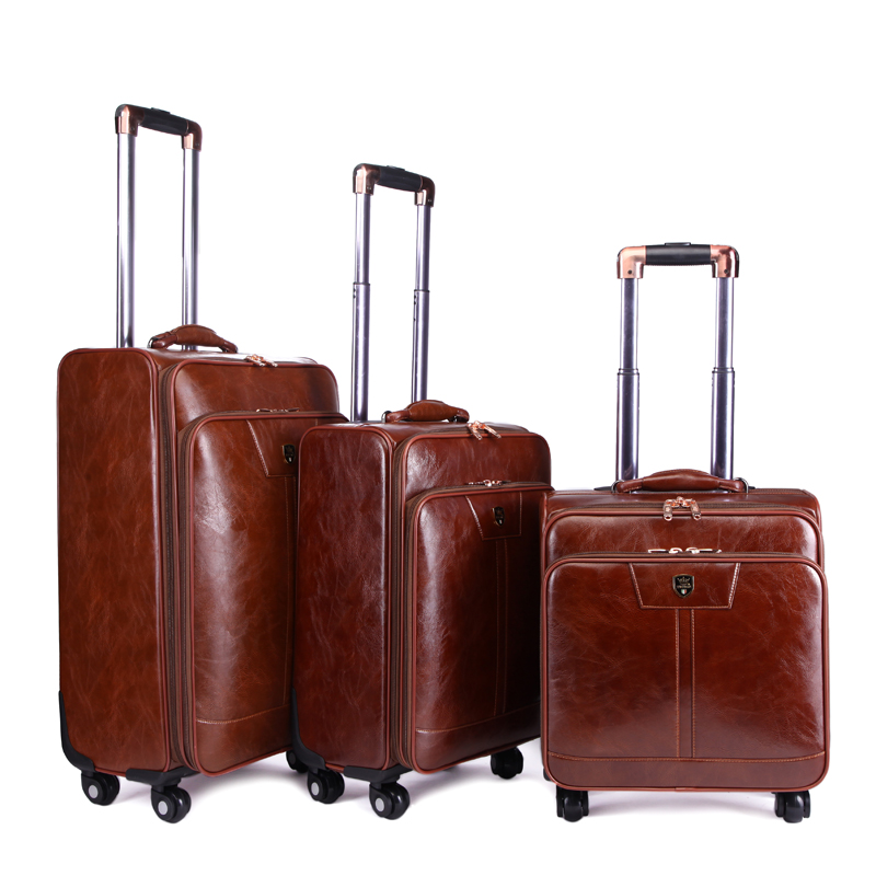LeTrend Rolling Luggage Spinner Women Password Trolley Men Business Suitcase Wheels 16 Inch PU Leather Cabin Travel Bag Trunk