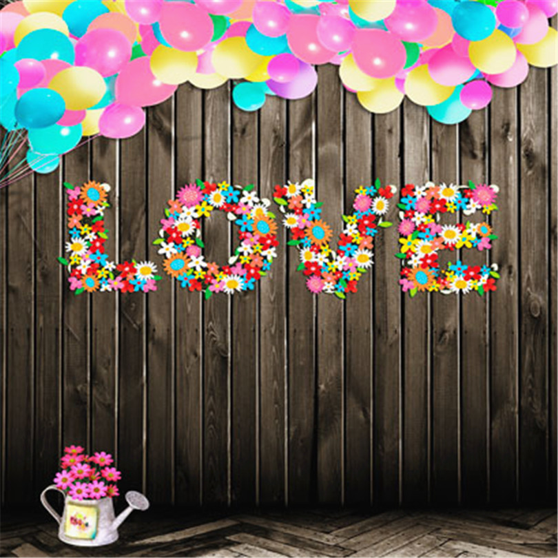 photography background 300cm*600cm colorful balloons dark wood floor flowers love letter photography backdrops for photo studio