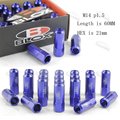 JDM M14 * 1.5 20 NEW Style Pieces Set L: 60mm Open ended Blox Forged 7075 Aluminum Wheel nuts Wheel nuts blue