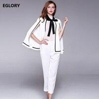 2017 Autumn Clothing Sets Women Bow Collar Cape Coat Jacket Calf Length White Pants Suit Office