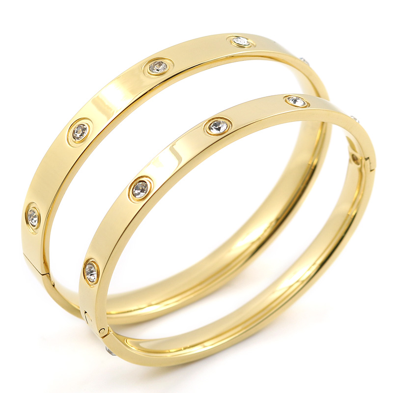 Trendy Rose Gold Love Bracelets Bangles Women Gold Color Stainless Steel Charming CZ Cuff Bracelet Lovers Luxury Brand Jewellery 12