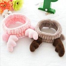 Подарок милый олень Рог Мягкая повязка на голову обертывание детское украшение для девушки повязка на голову для макияжа спа в