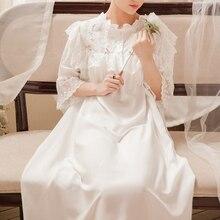 נשים Loose כתונת לילה ארוך הלבשת כותונת שמלת מתוק רטרו ארוך Homewear שמלת 5 צבע