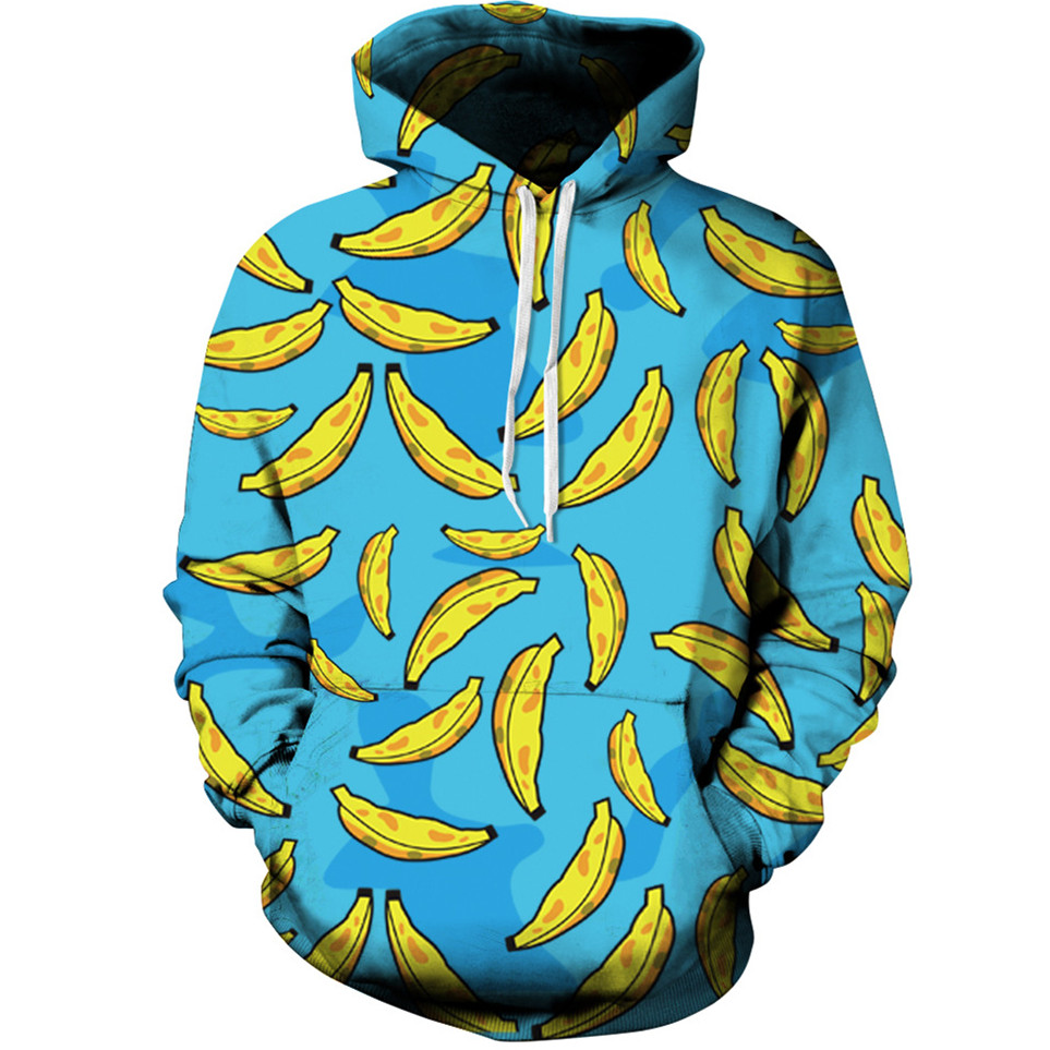 Harajuku 3D Print Fruit banana Sweatshirts Fashion Long sleeve with hat Men Women Couple clothes vogue Hooded Hoodies Tracksuit