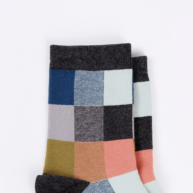 Combed Square patterned Cotton Men's Socks 5 Pair/Lot