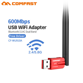 New Comfast CF-WU910A Dual Band USB WiFi Adapter 600Mbps Wifi Receiver Wireless Network Card Bluetooth4. 2 Adapter WiFi Dongle digital clock