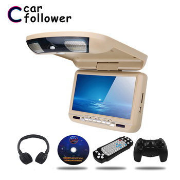 9 Inch Car Roof Flip Down Monitor LED Digital Screen DVD Player IR FM Transmitter USB SD MP5 Support 32 Bits Game TV For Car image