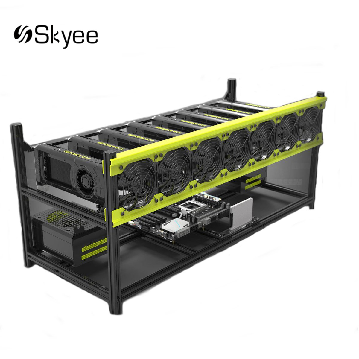S SKYEE Open Air Mining Rig Stackable Dual Power Frame Case With 7 Fans for 8 GPU Ethereum Computer Mining Frame Server Chassis цена
