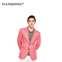 Тянь qiong 2018 Новый Индивидуальные пиджак шерсть 100% Slim Fit пиджаки для мужчин высокого качества яркий коралловый для отдыха блейзер