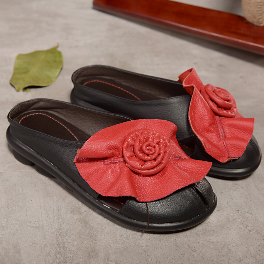 ФОТО genuine leather women slippers comfortable home slippers flat sandals flip flops women leather slippers