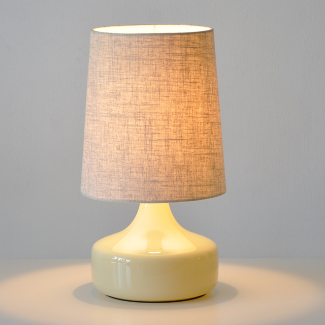 Fabulous Modern Glass Bedroom Bedsides Table Lamp Fabric shade Creative  JY55