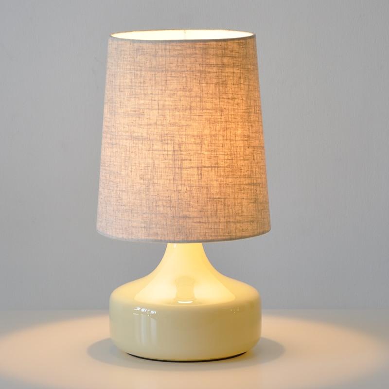 modern glass bedroom bedsides table lamp fabric shade creative study room desk lights rattan ball insides - Modern Table Lamp